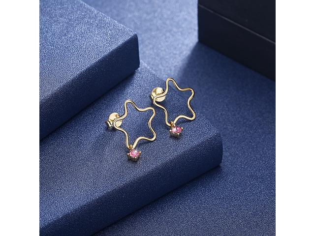 MABELLA Sterling Silver Star Drop Dangling Stud Earrings 18K Gold Plated Star Embellished with Crystals from Swarovski Gifts for Women Girls