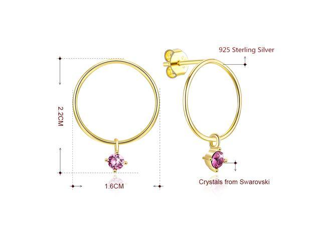 MABELLA Sterling Silver Star Drop Dangling Stud Earrings 18K Gold Plated Round Embellished with Crystals from Swarovski Gifts for Women Girls