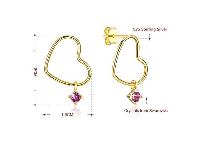 MABELLA Sterling Silver Star Drop Dangling Stud Earrings 18K Gold Plated Heart Embellished with Crystals from Swarovski Gifts for Women Girls