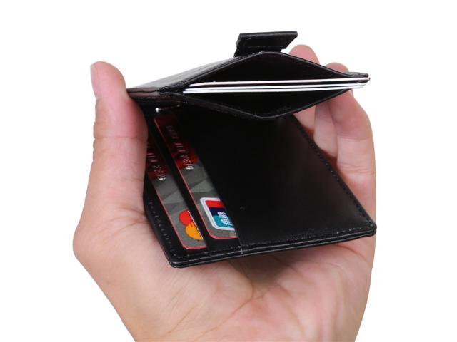 Mabella Men's RFID Blocking Genuine Leather Bifold 2 ID Window Travel +  Slim Thin Money Clip Front Pocket Wallet, Gift for Men - Black