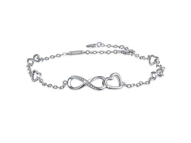 MABELLA Sterling Silver Infinity Endless Love Heart Adjustable Anklet and Hand Bracelets Gifts for Her