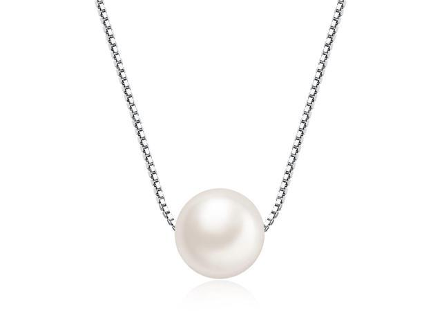 "Mabella Freshwater Cultured 8MM AAA White Single Pearl Pendant Necklace - 18"" Sterling Silver"