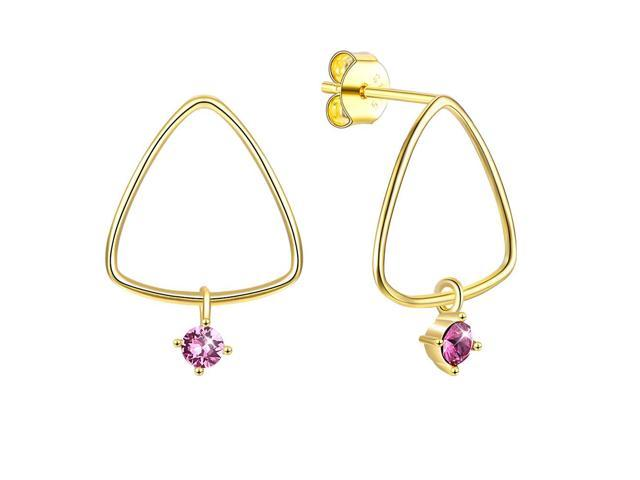 MABELLA Sterling Silver Star Drop Dangling Stud Earrings 18K Gold Plated Triangle Embellished with Crystals from Swarovski Gifts for Women Girls