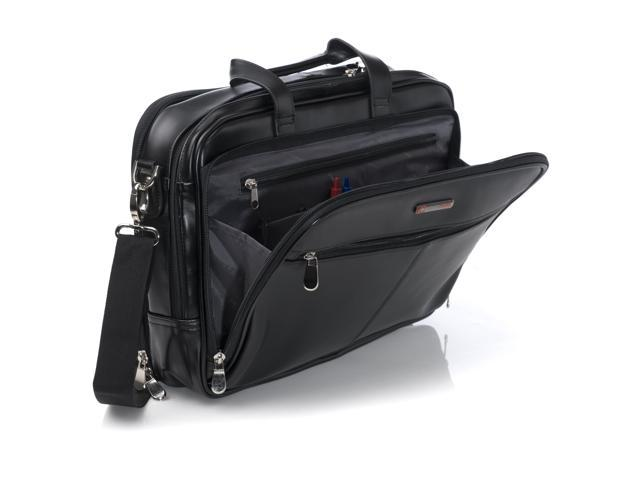 AlpineSwiss Leather Laptop Case Shoulder Strap Portfolio