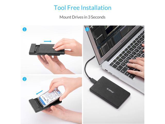 ORICO Type-C  2.5 Inch HDD Enclosure Case  USB3.1 GEN 1 to SATA III External Hard Drive Disk Enclosure High-Speed Case for HDD SSD Support UASP SATA III 2TB Max
