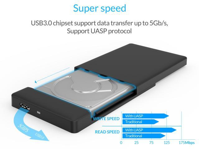 """ORICO 2.5"""" USB 3.0 SATA External Hard Drive Enclosure Tool-less installation for 2.5 inch 9mm 7.5 mm SATA HDD SSD Enclosure [UASP Supported]- Red"""