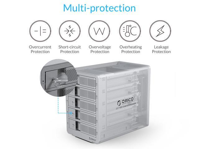 [Support UASP 40TB Drive Max ] ORICO Tool-free USB 3.0 to SATA 5 Bay External 3.5-inch SATA SDD Hard Drive Enclosure with Safety Lock for Laptop PC Mac OS [Without RAID Function] -Silver