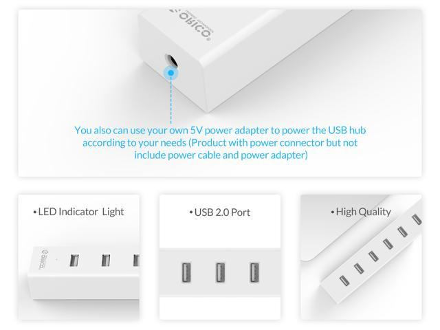 ORICO USB2.0 HUB with 7 Ports 100CM USB Data Cable for Windows Mac PC Laptop -White