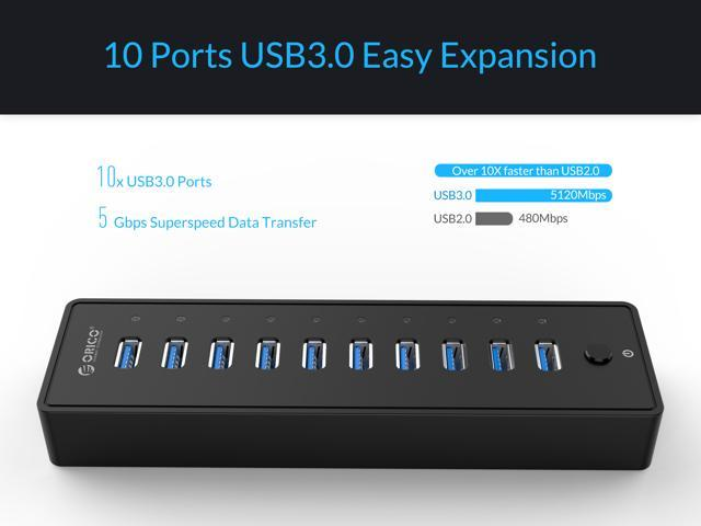 ORICO SuperSpeed USB3.0 10 Port Hub With VL812 Controller 3.3Ft. USB Date Cable for PC Laptop Windows and Mac OS Data Transmission -Black (P10-U3-US-V1)