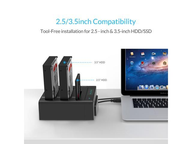 [Offline Clone Function]ORICO 3 Bay USB 3.0 Duplicator Docking Station to 2.5 inch/3.5 inch SATA External Hard Drive Enclosure Support MAX 24TB with 12V Power Adapter