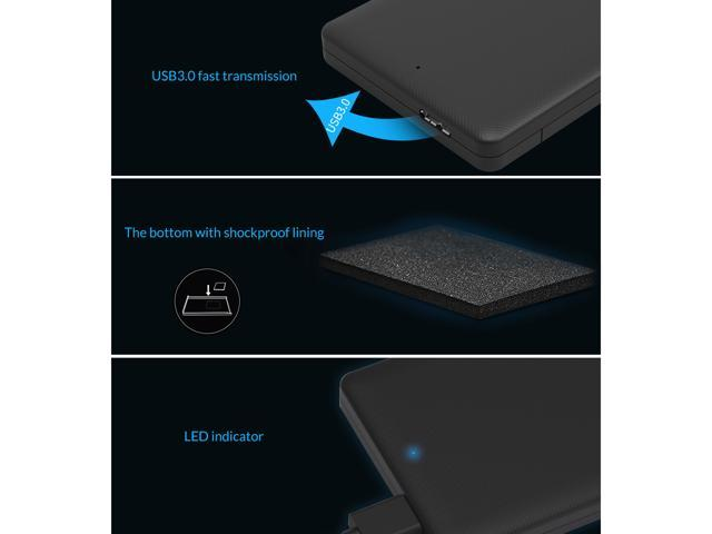 ORICO 2.5 inch USB3.0 to SATA External Hard Drive Enclosure case with Grid Texture Design Tool Free for 7mm/9.5mm 2.5 inch HDD and SSD Up to 2TB -Black