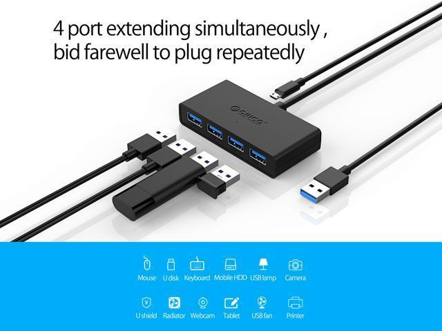 ORICO Ultra Slim Portable 4-Port USB3.0 Data HUB with Reserved Micro USB DC 5V Power Port for Windows,XP, Vista ,Windows, Linux and Mac Desktop or Laptop -Black