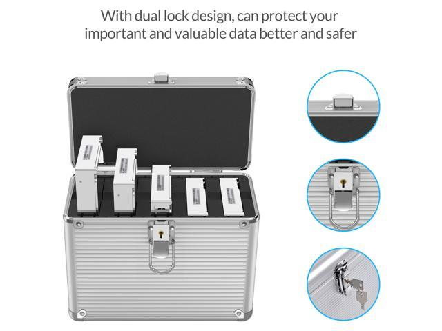ORICO Aluminum Hand-held Multi-protection 5 Bay 3.5 inch HDD Protective Storage Carrying Box with Security Lock - Silver (BSC35-05)