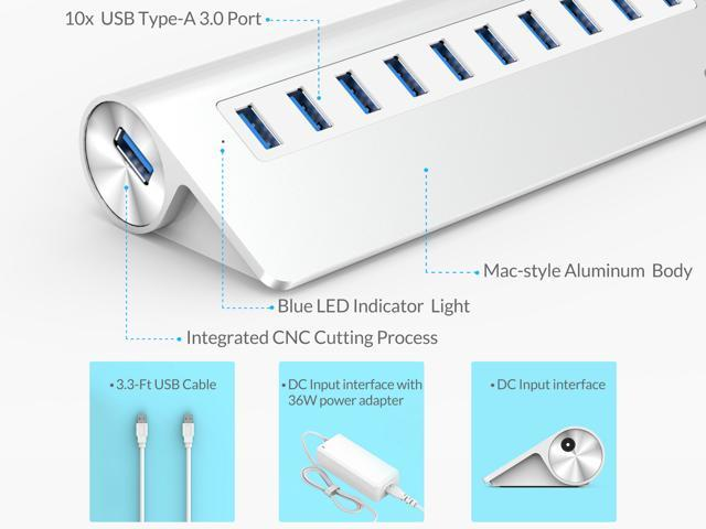 ORICO Aluminum Updated Mac Design 10 Port USB3.0 5Gbps Superspeed USB 3.0 HUB for Mac OS, Windows XP, Vista, 7, 8, 8.1, 10  and Linux -Silver