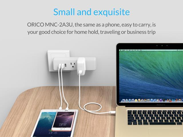 ORICO Compact 2 Outlet 3 USB Charger Travel Power Strip for Cable TV Personal Desk  Home, Office, Travel and Business