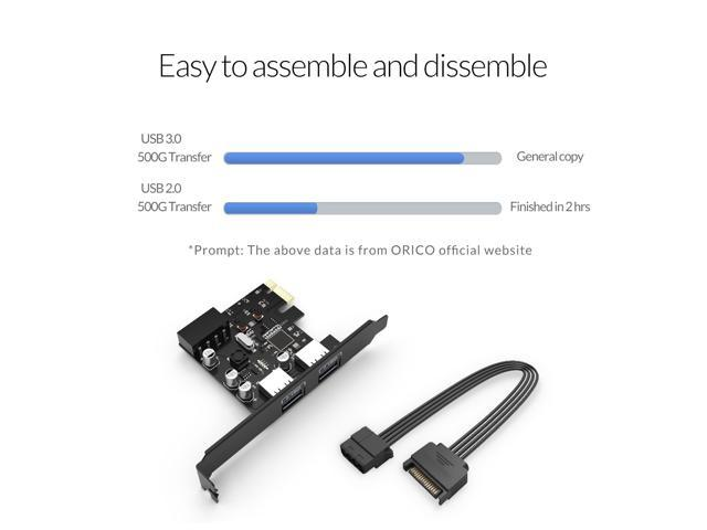 ORICO  Mac USB3.0 PCI Express Card for Mac10.8.2 or Later and Windows 8 with 4PIN to 15 PIN Power Cable (2 Ports Card with Power Cable)  (PME-2U)