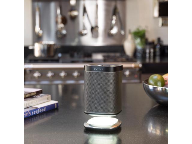 Flexson Lighted Desktop Speaker Stand for Sonos PLAY 1 with USB Charger (Black)