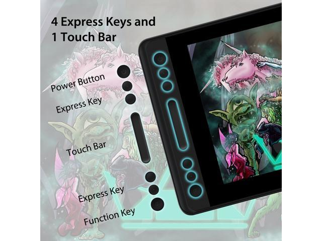 Huion KAMVAS PRO 12  Graphics Drawing Monitor Tilt Function Battery-Free 8192 Levels Pen Pressure with 4 Express Keys and 1 Touch bar -11.6 inches