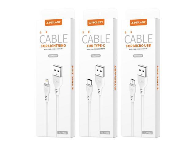3PCS Teclast TL-P10M Micro USB Cable Charging Data Cable TL-P10C Type-C USB Cable TL-P10L Lightning USB Cable - White