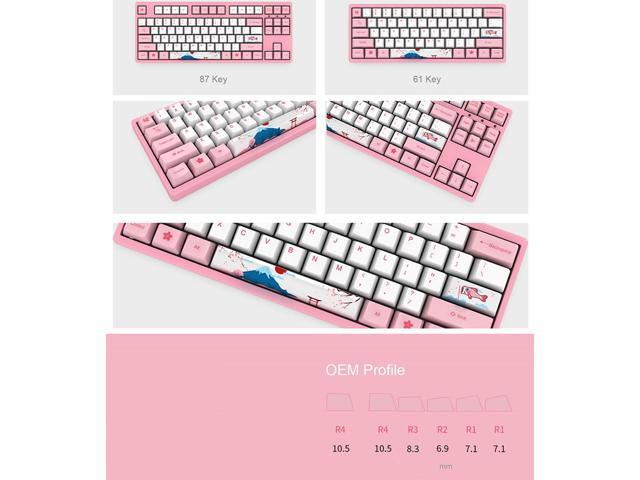 Akko X Ducky World Tour-Toyko Special Design OEM Profile PBT Keycap Set for Mechanical Keyboard - Sakura Pink