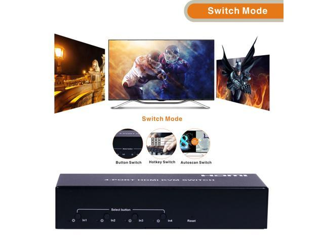 E-SDS 4-PORT 4K HDMI KVM Switch 4K@30Hz YUV4:4:4 Undelayed Support Hot Keys Switch,Auto Switch,Hot Plug,Support Windows,Linux, Unix, MAC KVM401B