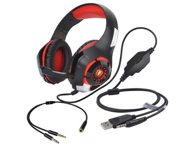 Gaming Headphone , Beexcellent 3.5mm LED Light Gaming Headset Bass Stereo Over-ear Headphone with Microphone for PS4 / Xbox One S / Xbox One / PC / Computer / Mac