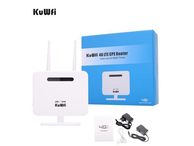 KuWFi 4G LTE CPE Router,300Mbps Unlocked 4G LTE CPE Wireless Router Antenna 3G 4G AP WiFi Router WFi Hotspot SIM Card Solt USA/CA/Mexico B2/B4/B5/B17 Network Band