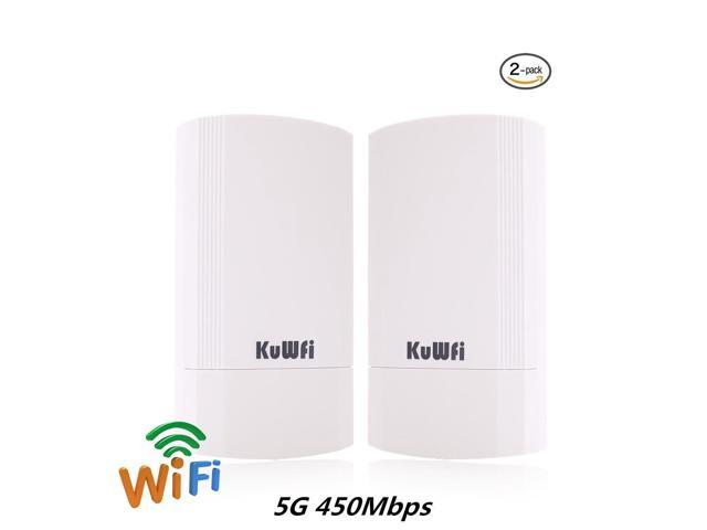 KuWFi 2-Pack 450Mbps Wireless outdoor CPE Kit,Indoor&Outdoor Point-to-Point wireless Bridge/CPE Supports 2KM transmission distance solution for PTP, PTMP (Pre-program WDS)Wireless Access Point/Bridge