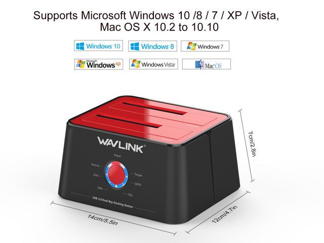 Wavlink Updated Hard drive Docking Station - USB 3.0 to SATA Dual Bay HDD Docking Station in Red For 2.5 & 3.5 In. HDD/SSD SATA I/II/III- Support Offline Clone / Duplicator / Backup / UASP Functions