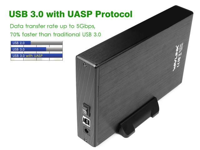 [Supports UASP & 10TB] Wavlink USB 3.0 to SATA External Hard Disk Drive Enclosure for 3.5 Inch SATA I/II/III HDD SSD with Power Switch, 12V/2A Power Adapter, Bracket, Included USB 3.0 Cable