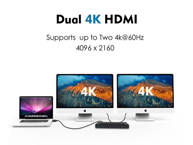 Wavlink USB-C Power delivery Docking Station, 5K/Dual 4K Video Docking Station, 2 X HDMI, 2 x DisplayPort, Gigabit Ethernet, 2 X USB-C Ports, 4 x USB 3.0, 60W PD Charging Dock