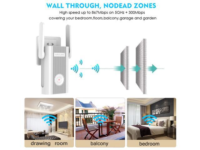 AC1200 WiFi Extender,Wavlink Dual Band 2.4GHz and 5GHz Available Wireless Range Repeater Signal Amplifier Booster for Home Office with 2 x External Antennas,WPS,DHCP,Online Firmware Upgrade