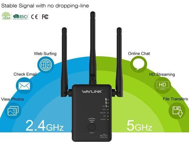 Wavlink 802.11AC 750Mbps Mini WIFI Range Extender Dual Band 2.4GHz 300Mbps 5GHz 433Mbps Wireless Signal Amplifier Booster Support for Repeater AP and wireless Router Modes 3-IN-1,3 x External Antennas