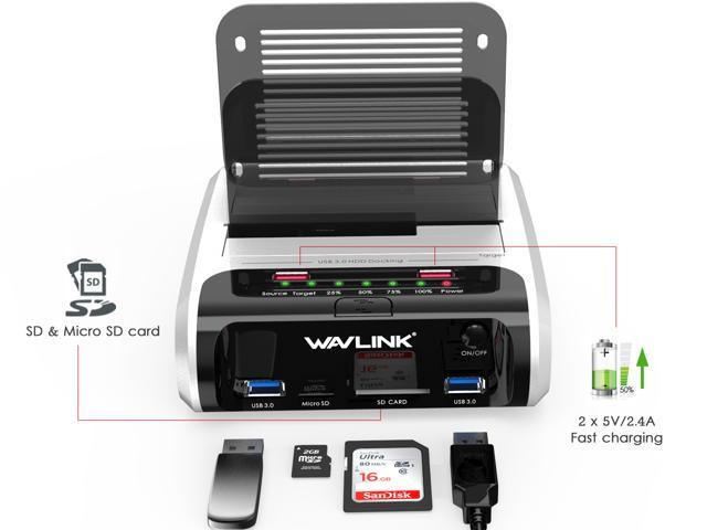 """Wavlink X-MAN USB 3.0 to SATA Dual-Bay Hard Drive Docking Station with Offline Clone & UASP, 2 USB 3.0 Port, 2 fast charging port, SD & Micro SD Card reader, 7 LED indication, for 2.5""""/3.5"""" HDD SSD"""
