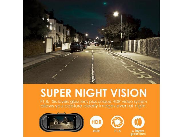 Vantrue X3 WiFi Dash cam - Super HD 2.5K Camera Recorder with Ambarella A12 Chipset, 4-Lane Wide-Angle View Lens, Super HDR Night Vision, and Loop Recording