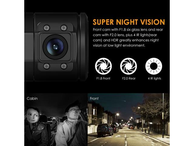 """Vantrue N2 Pro Dual Dash Cam Dual 1920x1080P Front and Rear(2.5K Single Front Recording) 1.5"""" 310 Degree Dashboard Camera w/Infrared Night Vision, Sony Sensor, Parking Mode"""