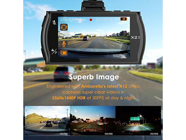 "Vantrue X2 Car Dash Cam – 2K (2560x1440P +HDR) Car Camera Super HD 2.7"" LCD Dashboard Camera DVR Video Recorder with F1.8 170 Wide View Angle Lens, WDR, G-Sensor, Super Night Vision & Parking Mode"