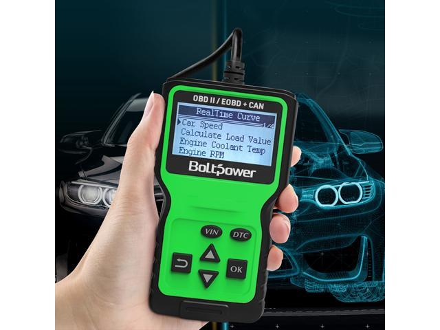 Bolt Power OBD2 Scanner Code Reader, Read and Erase Fault Codes, Automotive Car Emission Monitor, Check Engine Light CAN Diagnostic OBD II Scan Tool for Japanese, European, American Automobiles