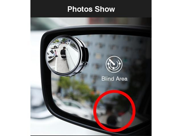 2 Pack Car Vehicle Blind Spot Mirror Rear View Mirrors HD Convex Glass 360 Degree View Adjustable Mirror  Black