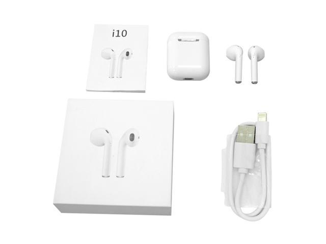 i10 TWS Bluetooth V5.0 Touch Binaural Earbuds Stereo In-ear Earphone With Charging base- WHITE