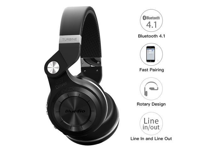Bluedio T2S (Turbine 2 Shooting Brake) Wireless Bluetooth 4.1 Stereo On Ear Headphones - Black
