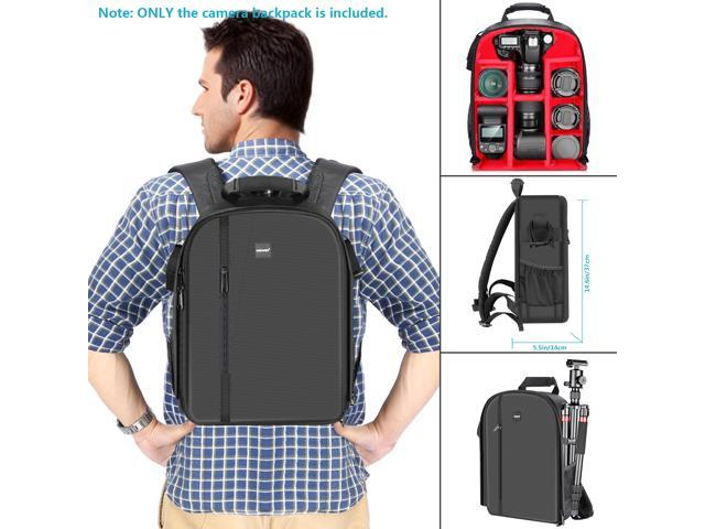 Neewer Professional Camera Case Backpack Bag - Waterproof Shockproof 11.8x5.5x14.6 inches with Tripod Holder and External Pocket for DSLR, Mirrorless Camera, Flash or Other Accessories (Red Interior)