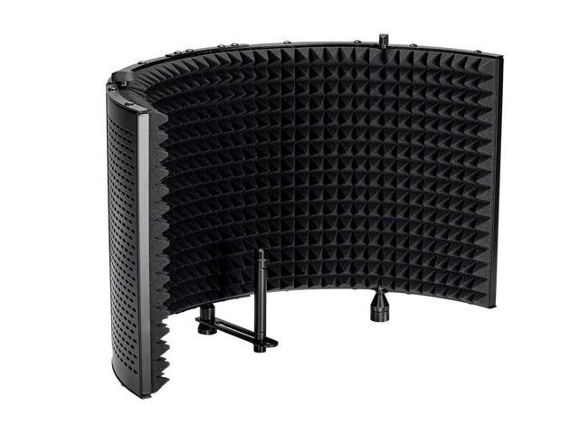 Monoprice Microphone Isolation Shield - Black - Foldable with 3/8 inch Mic Threaded Mount, High Density Absorbing Foam Front And Vented Metal Back Plate - Stage Right