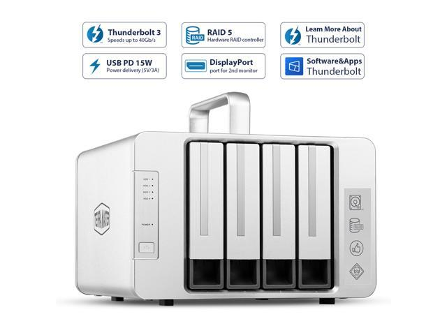 TerraMaster D4 Thunderbolt 3 Professional-Grade 4-Bay External Hard Drive Enclosure RAID 0/RAID1/RAID5/RAID10/JBOD Hard Disk RAID Storage (Diskless)