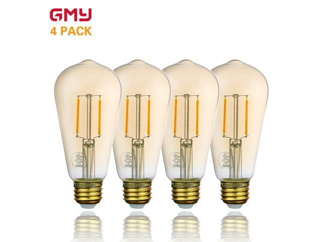 Vintage LED Edison Bulb Dimmable - Amber LED Light Bulb ST21 2.5W - 120V 2200K Amber Glass Warm White E26 (4 PACK)