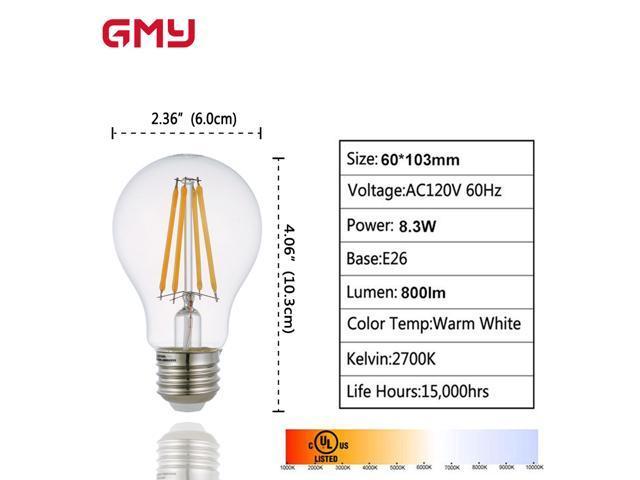 LED Edison Light Bulb Dimmable - A19 Vintage LED Filament Bulb 800 Lumens 8.3 Watt - 60W Equivalent - E26 2700 Kelvin Soft White Clear Glass(6 PACK)