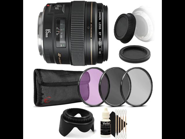 Canon EF 85mm f/1.8 USM Autofocus Lens w/ Accessory Bundle for Canon SLR Cameras