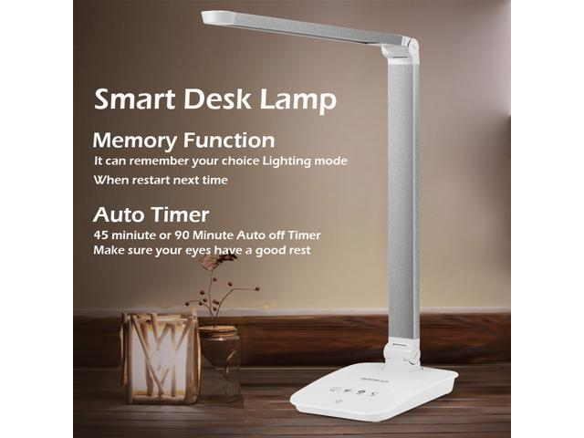 GUANYA 8W Aluminum Alloy LED Desk Lamp with Dimmable Eye Protection, Touch Control, 4 Lighting Modes and Auto Timer Memory Function (white)