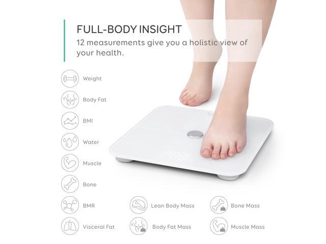 eufy Smart Scale with Bluetooth, Body Fat Scale, Wireless Digital Bathroom Scale, 12 Measurements, Weight/Body Fat/BMI, Fitness Body Composition Analysis, White, lbs/kg