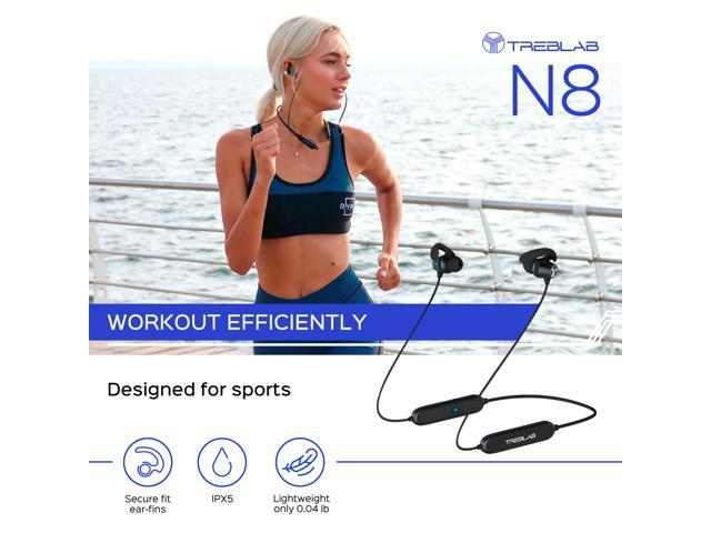 TREBLAB N8 - Sports Bluetooth Headphones. Lightweight In-Ear Wireless Earbuds, Magnetic Secure-Fit, Sweatproof, For Gym, Yoga, Running, Workout, Noise Cancelling, w/Mic